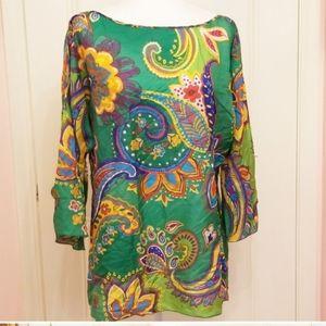 RALPH LAUREN 100% silk paisley blouse